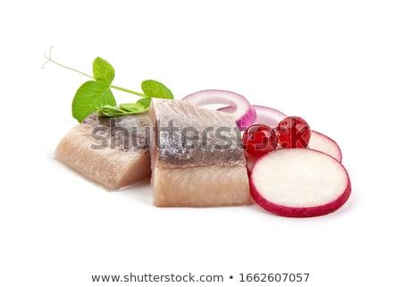 норвежский пластина продовольствие рыбы Салат Сток-фото © podsolnukh