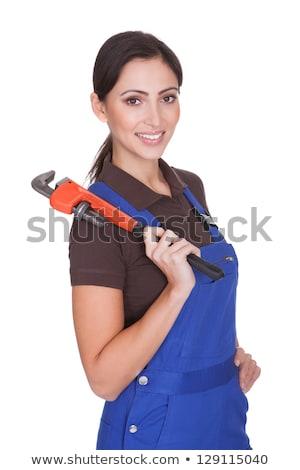 buzgó · fiatal · női · vízvezetékszerelő · iroda · munka - stock fotó © andreypopov