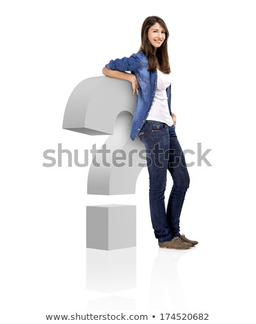 Beautiful woman standing over a interrogation symbol, isolated over a white background Stock photo © iko