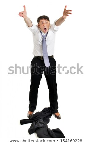 Człowiek kurtka w dół frustracja dojrzały Zdjęcia stock © smithore