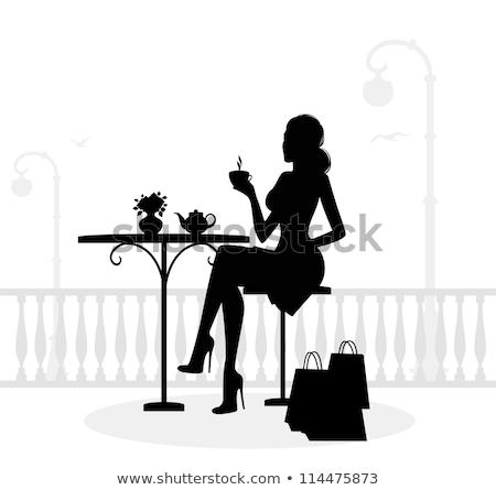 Kávé nők sziluettek illusztráció két nő sziluett Stock fotó © coolgraphic