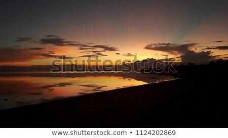 Drámai tüzes narancs naplemente Fülöp-szigetek fa Stock fotó © smithore