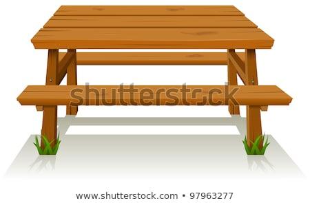 Rustiek houten picknicktafel bos stenen camping Stockfoto © photosebia