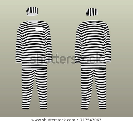 Stock photo: Prisoner in striped uniform on white