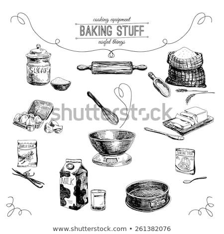 étape boulangerie préparation lait beurre cuillère Photo stock © nalinratphi