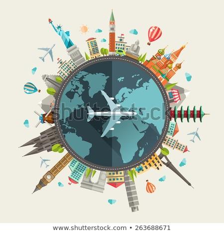 Avião terra edifícios corda borda papel Foto stock © cherezoff