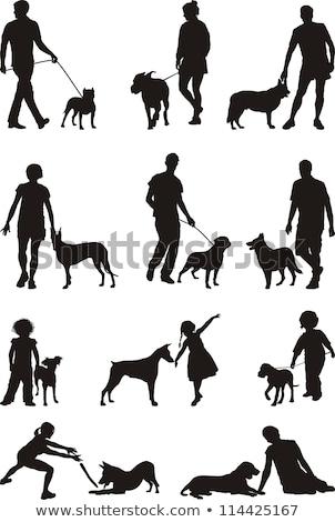 köpek · siluet · basit · mutlu · vektör · keskin - stok fotoğraf © slobelix