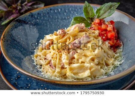 tagliatelle cooked with vegetable and bacon Stock photo © M-studio