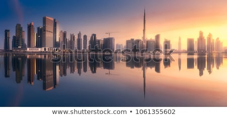 Kilátás Dubai sziluett éjszaka iroda épület Stock fotó © vwalakte