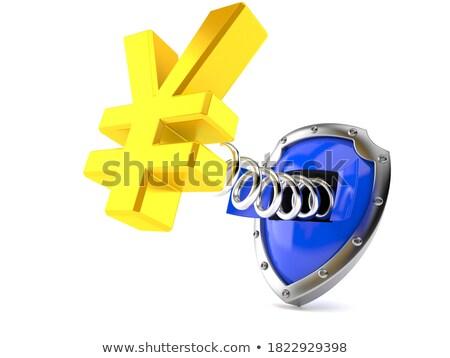 Azul escudo japonês yen dinheiro assinar Foto stock © Ustofre9