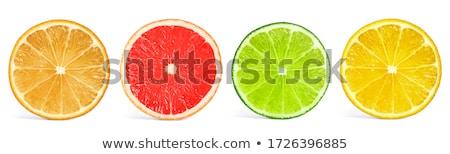 коллаж Ломтики лимона оранжевый грейпфрут изолированный Сток-фото © OleksandrO