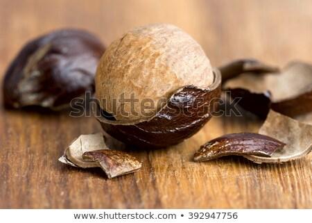 Nootmuskaat shell heerlijk warm Spice oranje Stockfoto © Klinker
