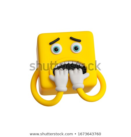 Square emoticon afraid Stock photo © carbouval