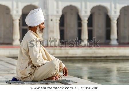 szikh · ima · ül · vmi · mellett · szent · épület - stock fotó © szefei