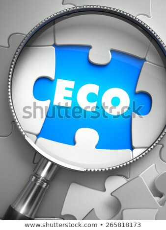 Stock photo: ECO - Puzzle with Missing Piece through Loupe.