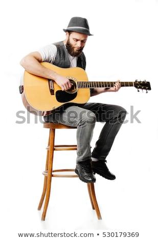 Portré gitáros izgalmas zene szürke férfi Stock fotó © master1305