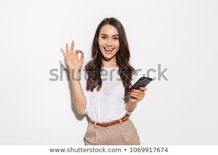 geste · jeunes · souriant · femme · d'affaires - photo stock © elwynn