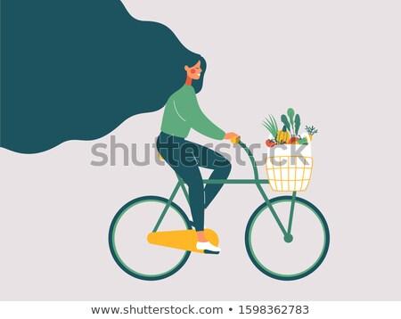 Foto stock: Vegan · menina · bicicleta · ilustração · saúde · bicicleta