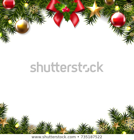 Christmas Border Holly and ribbon elegant Stock photo © Irisangel