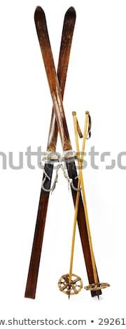 oude · houten · leder · ski · laarzen · winter - stockfoto © ozaiachin