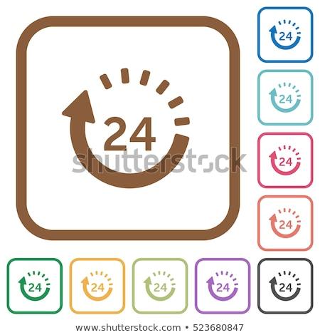 24 Hours Services Square Vector Yellow Icon Design Set Stock photo © rizwanali3d