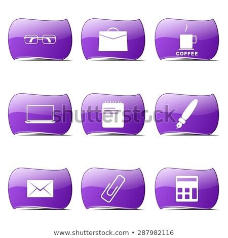Kantoorwerk violet vector knop icon ontwerp Stockfoto © rizwanali3d