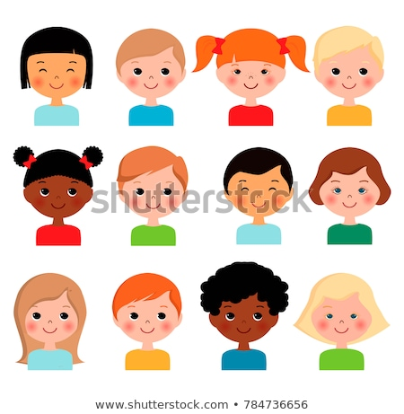 Flat Style Happy Smiling Different Races Kids Faces stock photo © vectorikart