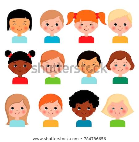 Stílus boldog mosolyog különböző gyerekek arcok Stock fotó © vectorikart