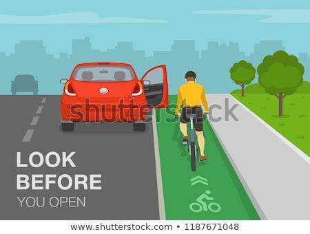 Stockfoto: Open · straat · parkeren · fietsen · beschadigd · fiets
