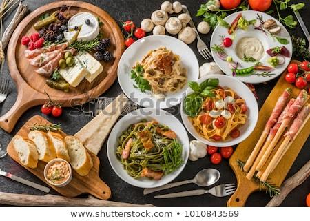 makaróni · sajt · tyúk · gombák · étel · levél - stock fotó © haraldmuc