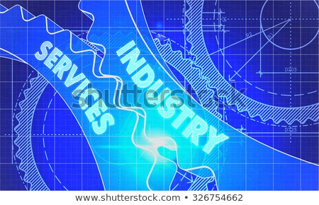 industry services on the cogwheels blueprint style stock photo © tashatuvango