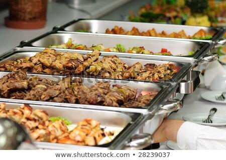 Banket maaltijd geserveerd aardbeien kaas buffet Stockfoto © ddvs71