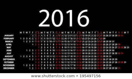 календаря 2016 черный вектора eps10 искусства Сток-фото © rommeo79