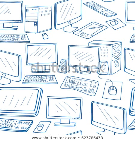 Végtelen minta elektronikus szerkentyű kézzel rajzolt notebook telefon Stock fotó © netkov1