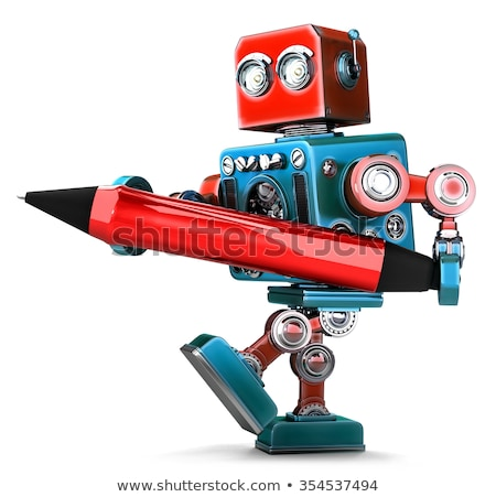 vintage robot writing with red pen isolated contains clipping path stock photo © kirill_m