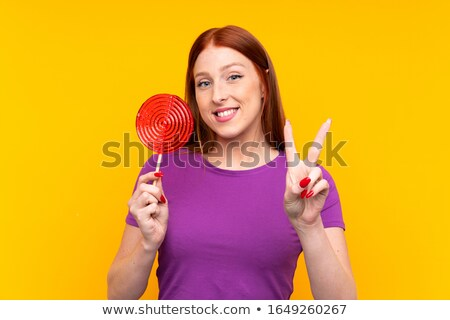 Kobieta lizak pokoju podpisania Zdjęcia stock © deandrobot
