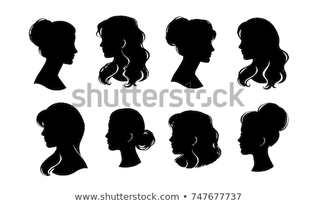 Vintage card with woman silhouette, vector illustration Stock photo © carodi
