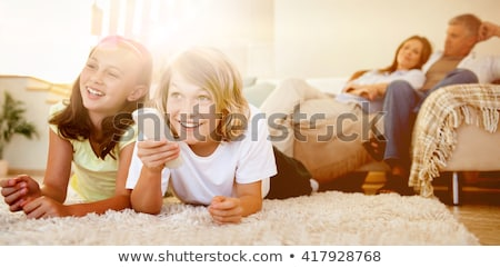 Stock fotó: Testvérek · padló · néz · tv · együtt · család