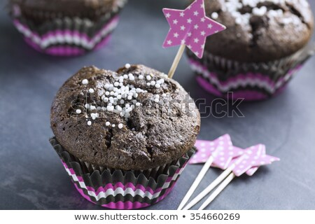Chocolate Cupcake with Snowflakes in Pink Punnet stock photo © x3mwoman