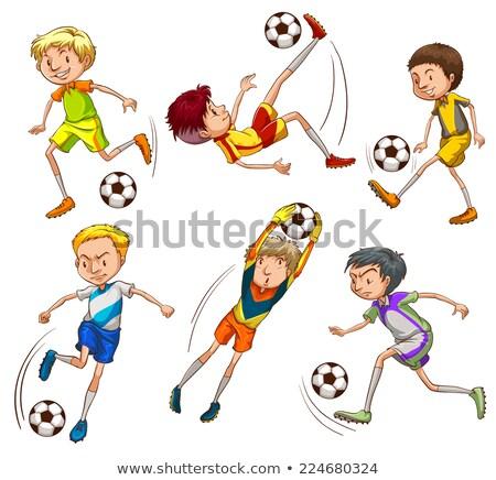 商业照片: 素描 · 足球运动员 · 插图 ·白· 足球 · 足球
