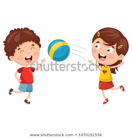 Dziewczyna chłopca gry siatkówka ilustracja dzieci Zdjęcia stock © bluering