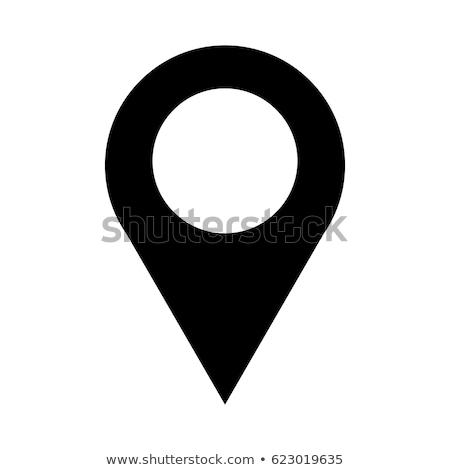 アイコン のGPS  マーク 3次元の図 白 表面 ストックフォト © idesign