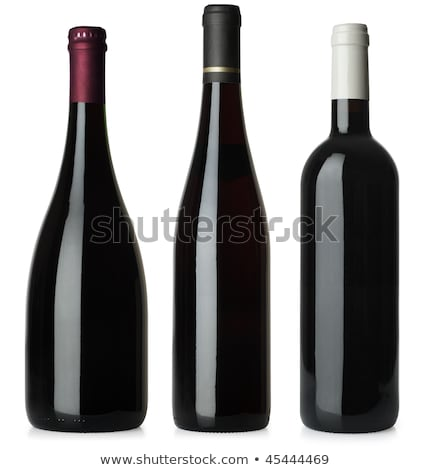 Stock photo: A bottle of red wine, isolated on white + clipping path.