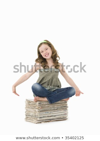 barefoot young  girl with brown hair isolated on white Stock photo © meinzahn