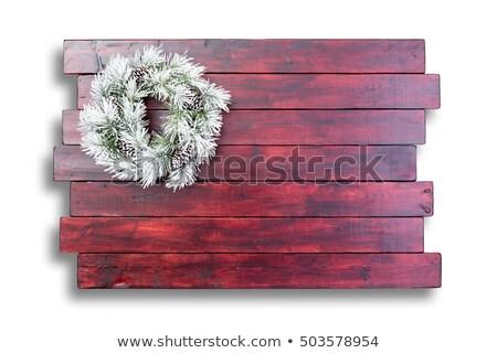 着色した 木製 表面 クリスマス 花輪 雪 ストックフォト © ozgur