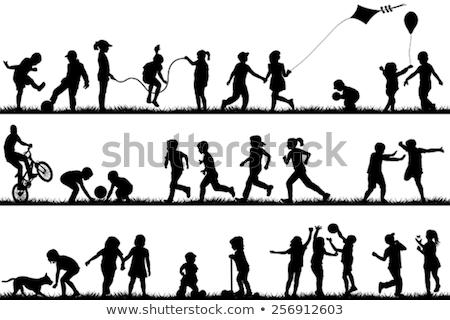 Gyerek játszik sziluettek jó szimbólum logo Stock fotó © comicvector703
