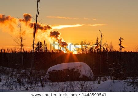 Apocalíptico naranja nubes invierno puesta de sol belleza Foto stock © stevanovicigor