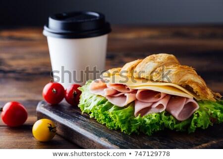 Queso jamón pan bollo rebanadas superior Foto stock © Digifoodstock