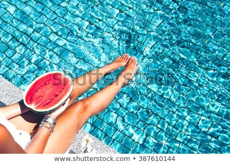 Biquíni melancia belo atraente modelo de biquíni Foto stock © Fisher