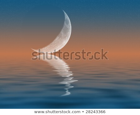 Stock photo: Large Moon with Reflection in Water and Stars in Night Sky